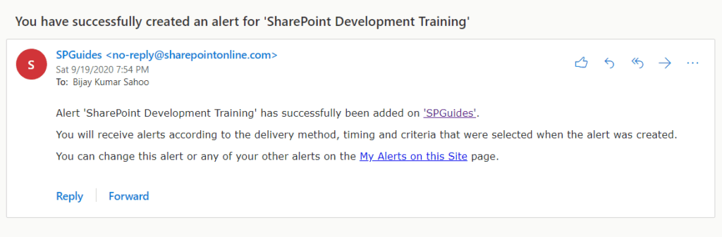 sharepoint alerts