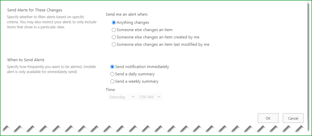 sharepoint set alerts for all users