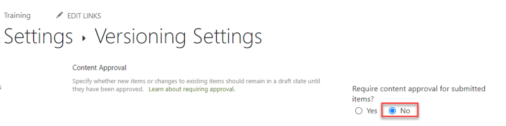 turn off content approval in SharePoint