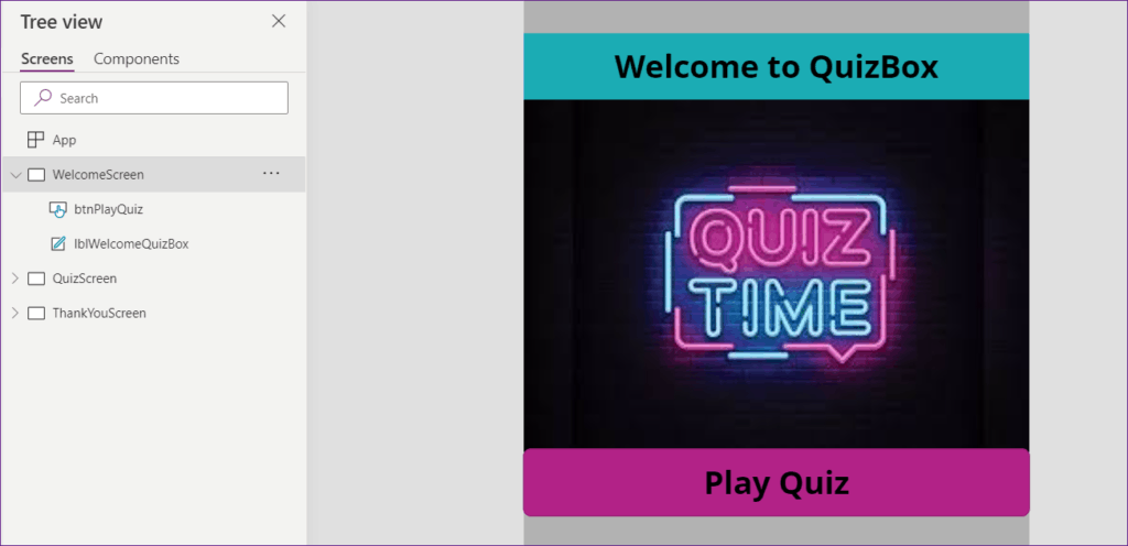 Create Quiz app in Powerapps