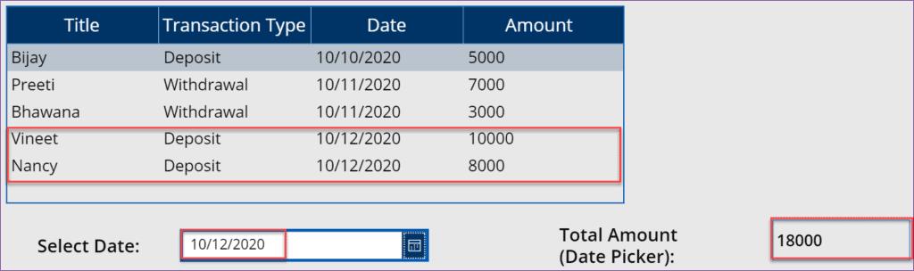Power Apps sum datatable column