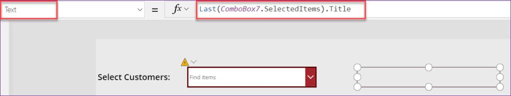 PowerApps Combobox Selected item