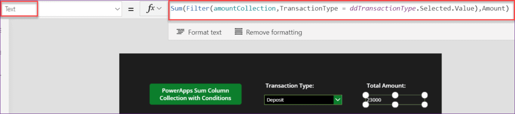 PowerApps Sum Collection with condition