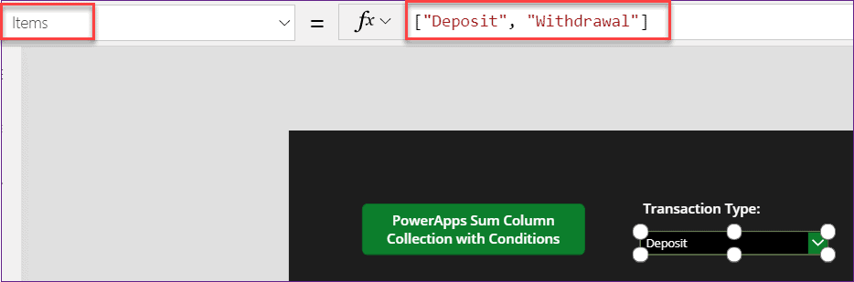 PowerApps Sum of a Collection with condition