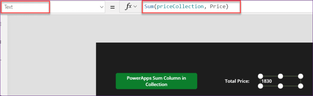 PowerApps Sum of a Collections