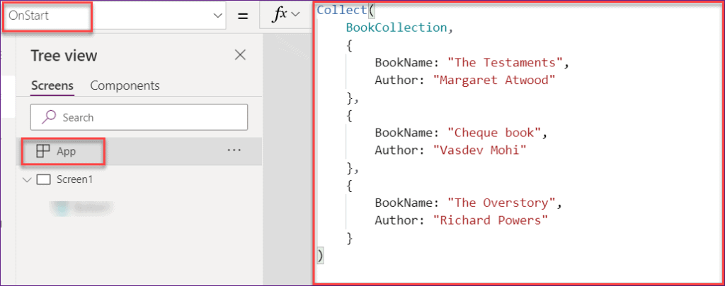 PowerApps Collection on start