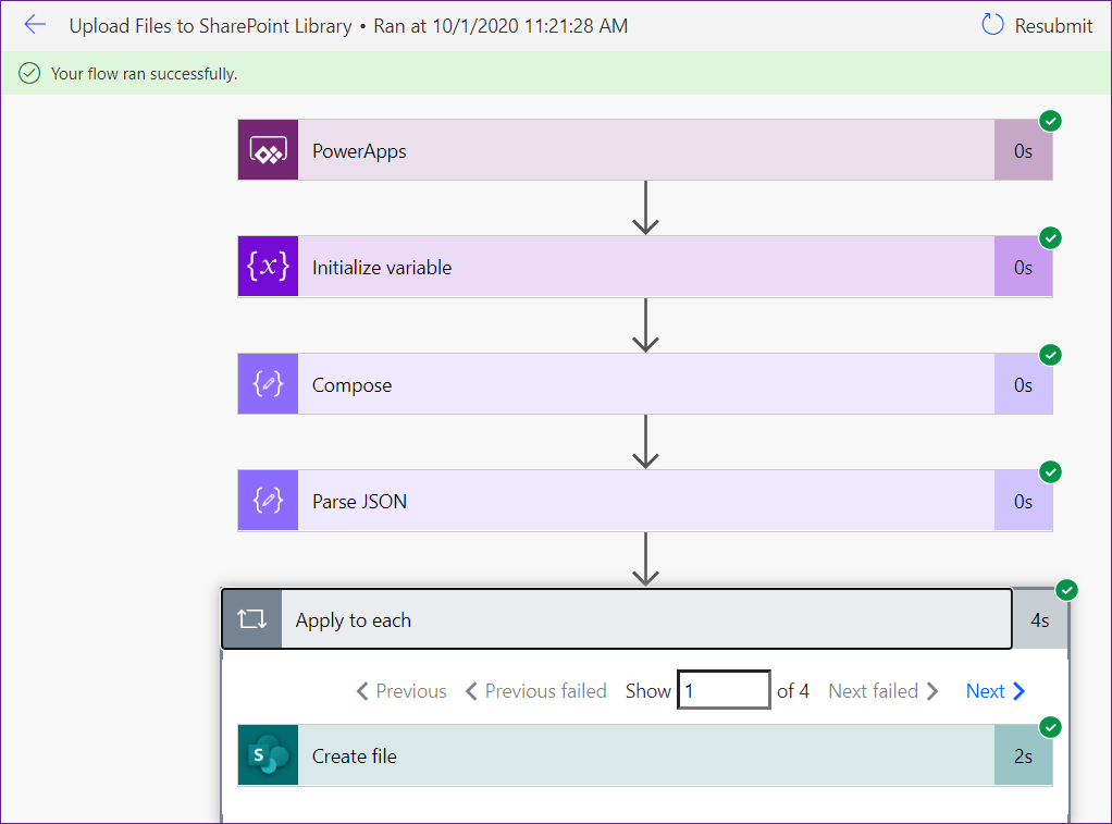 Poweraspps upload documents to SharePoint library using flow