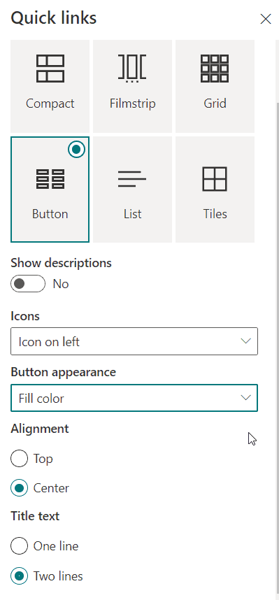 SharePoint online quick links web part button layout