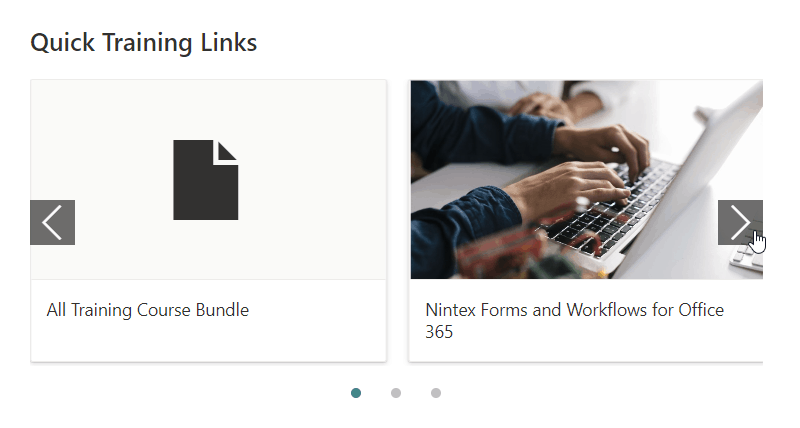 SharePoint online quick links web part Filmstrip layout