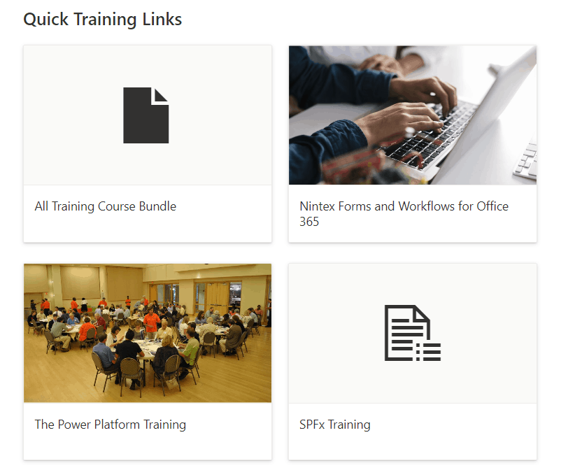 SharePoint online quick links web part grid layout