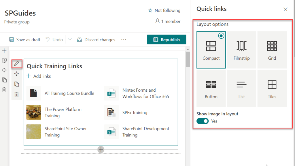 SharePoint online quick links web part layout options