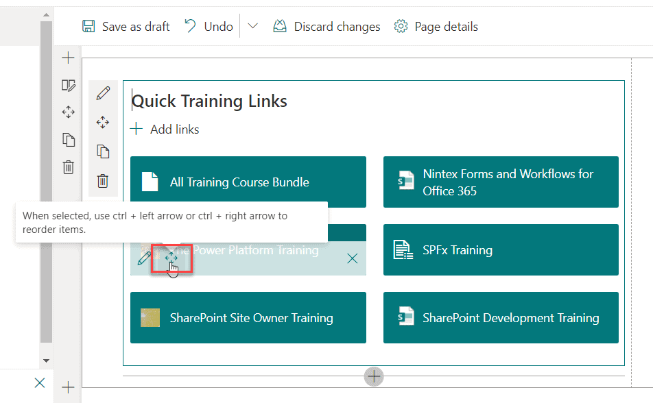 SharePoint quick links change order