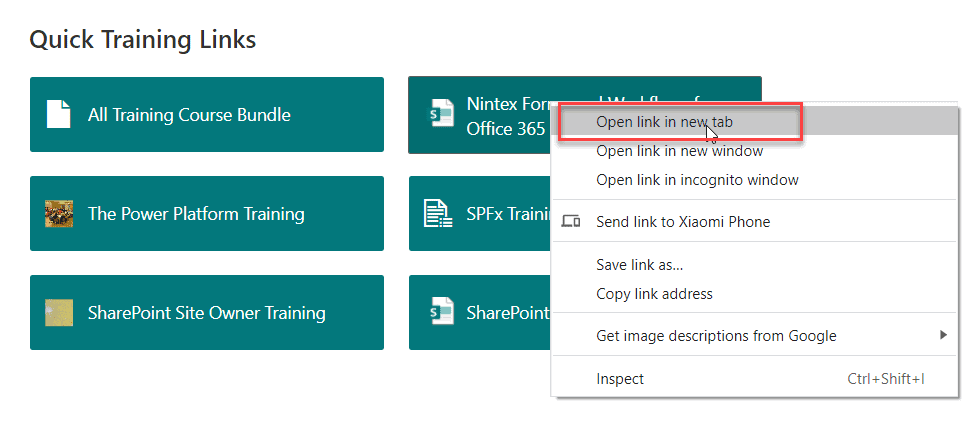 SharePoint quick links open in new tab