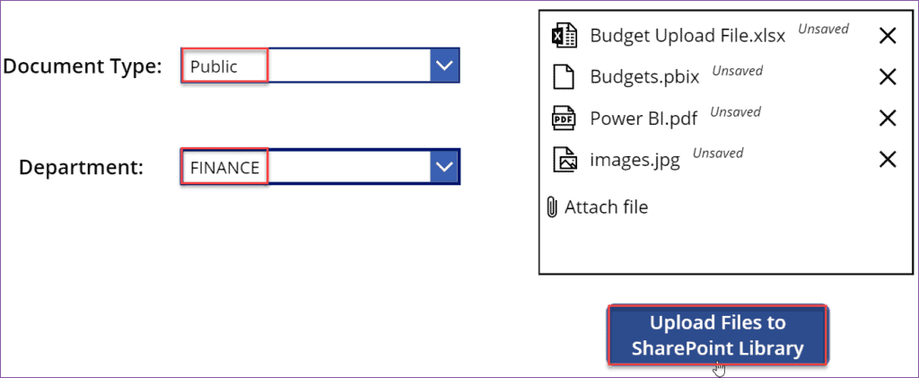 Upload multiple documents to SharePoint library in Powerapps