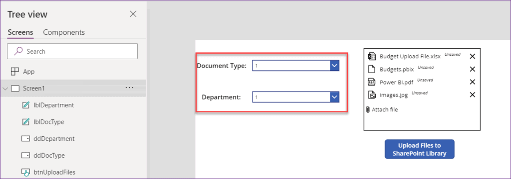 upload documents in SharePoint library using powerapps