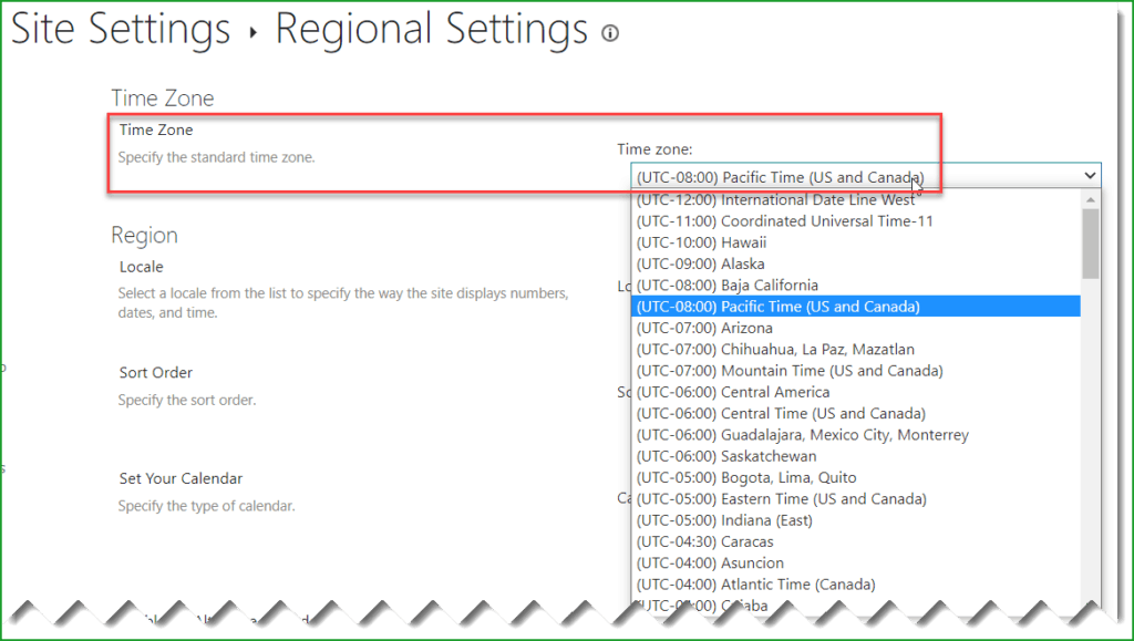 Change time zone in SharePoint Online