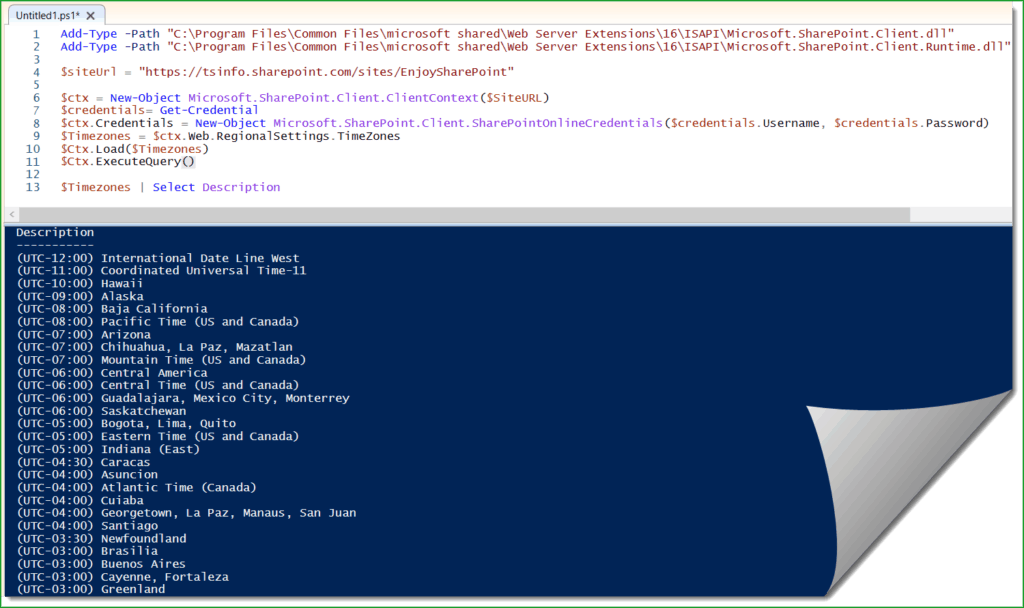 Get SharePoint Online site time zone using PowerShell