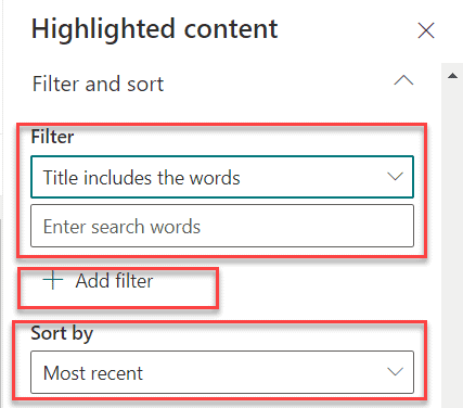 Highlighted content web part filter and sort