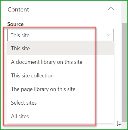 highlighted content web part content source