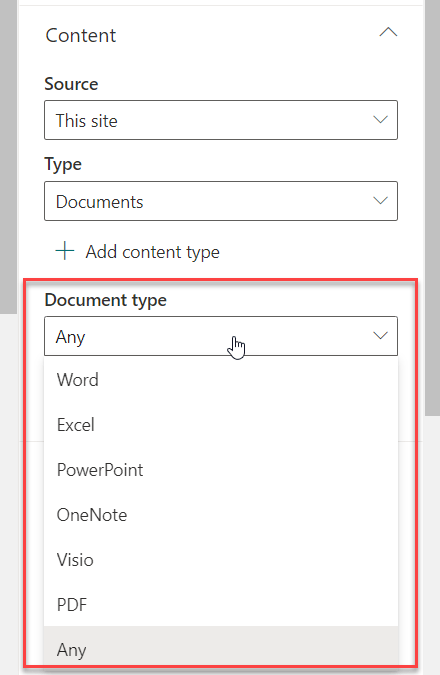 highlighted content web part document type