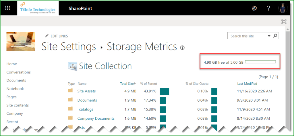 how to manage SharePoint online site collection storage limit