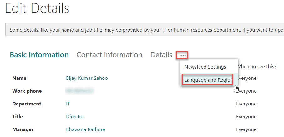 sharepoint online change personal time zone