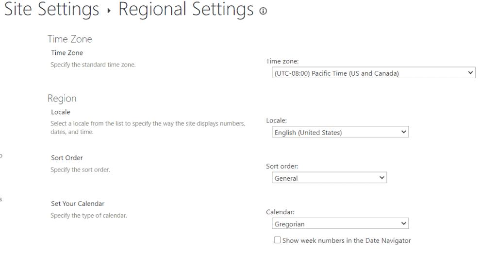 sharepoint online default regional settings
