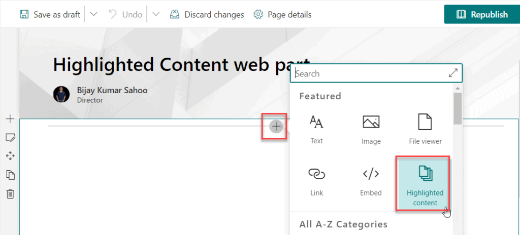 sharepoint online highlighted content