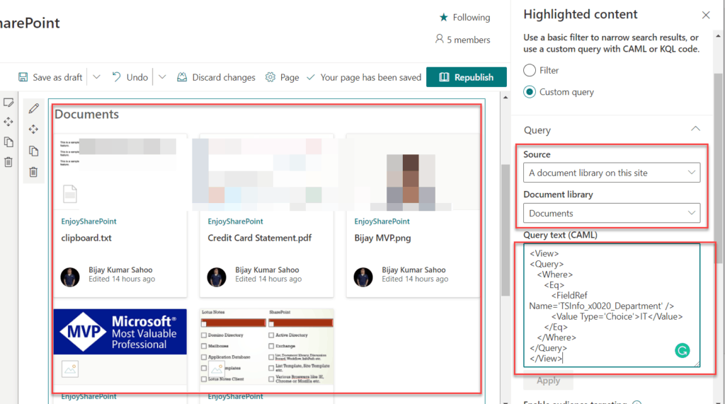 sharepoint online highlighted content caml