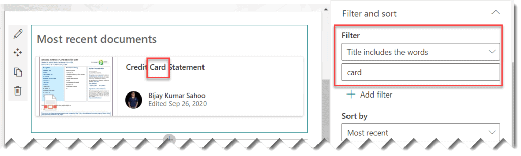 sharepoint online highlighted content filter