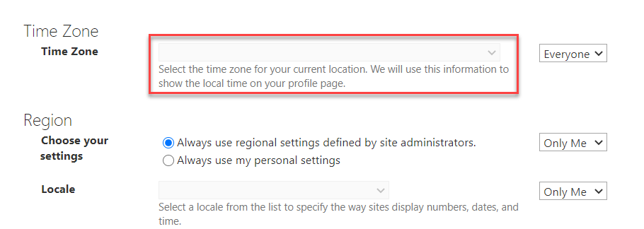 sharepoint online change time zone