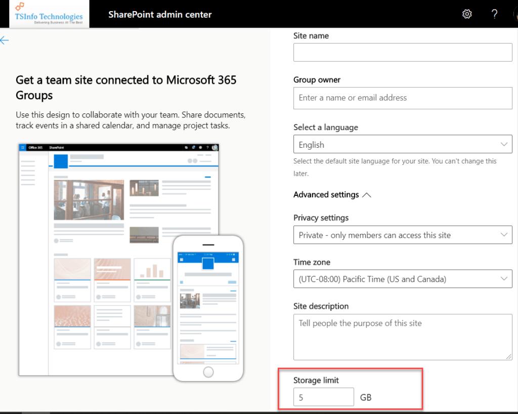 sharepoint online site storage