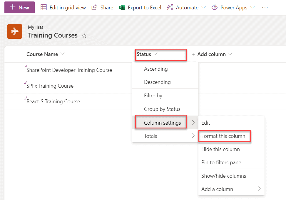 Microsoft Lists Formatting example