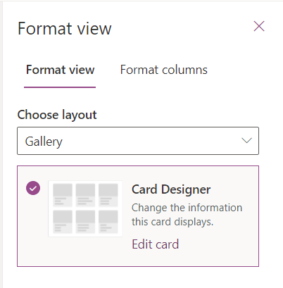 Microsoft Lists Gallery View formatting