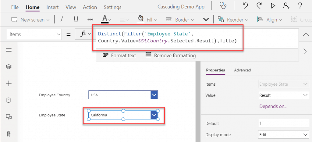cascading drop down in powerapps example