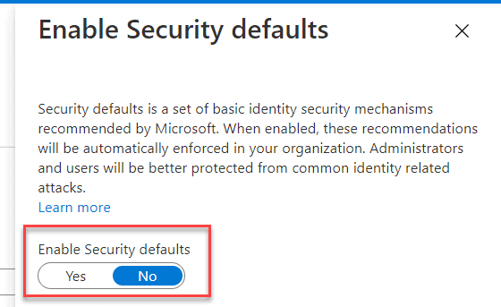 microsoft has enabled security defaults to keep your account secure disable