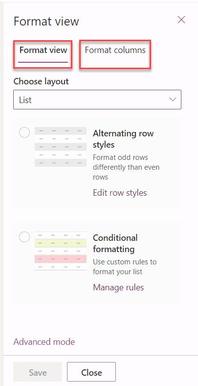 microsoft lists format column