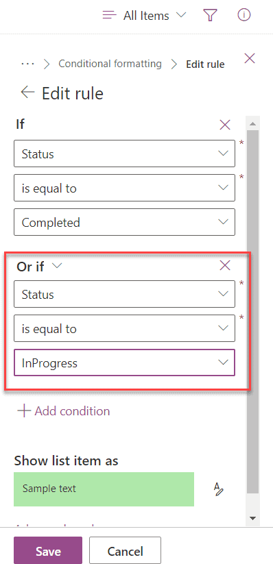 Microsoft lists formatting rule and or condition