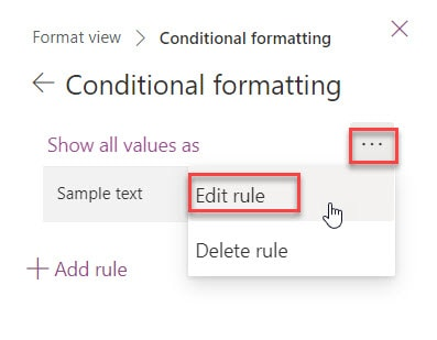 microsoft lists view conditional formatting example