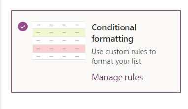 microsoft lists view conditional formatting
