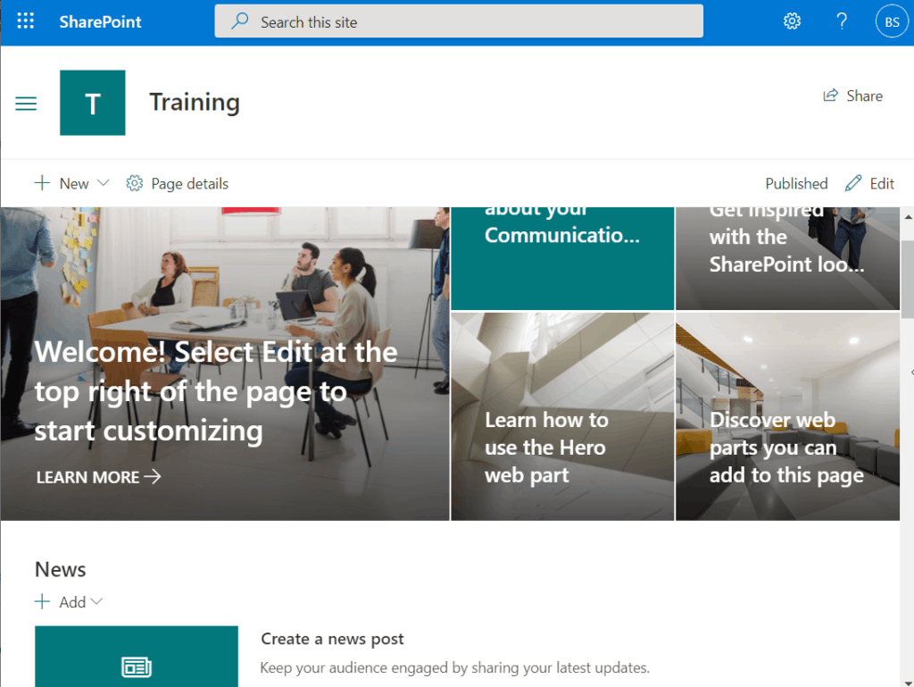 sharepoint online communication site examples
