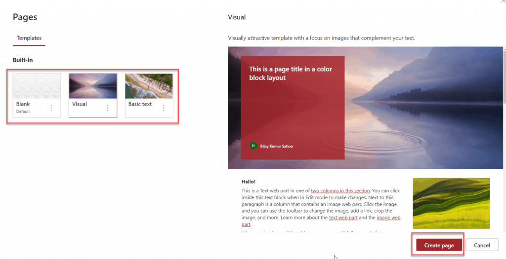 Create modern page in SharePoint Online Site