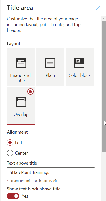 Overlap SharePoint modern Page Title