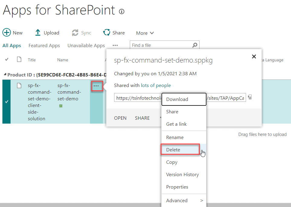 Remove an app from the SharePoint Online App Catalog