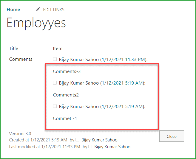 SharePoint list commenting functionality