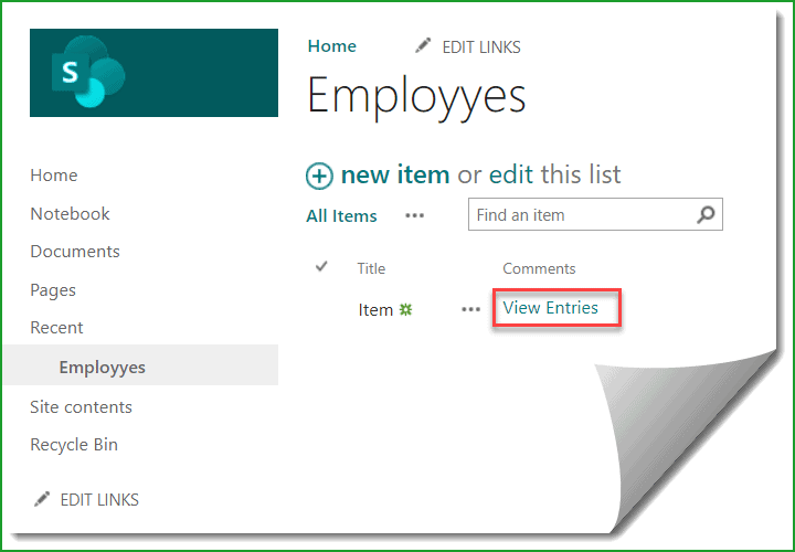 SharePoint list commenting