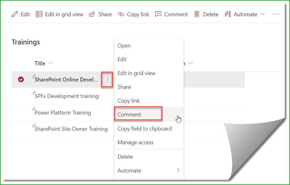 add Comments to SharePoint Online List
