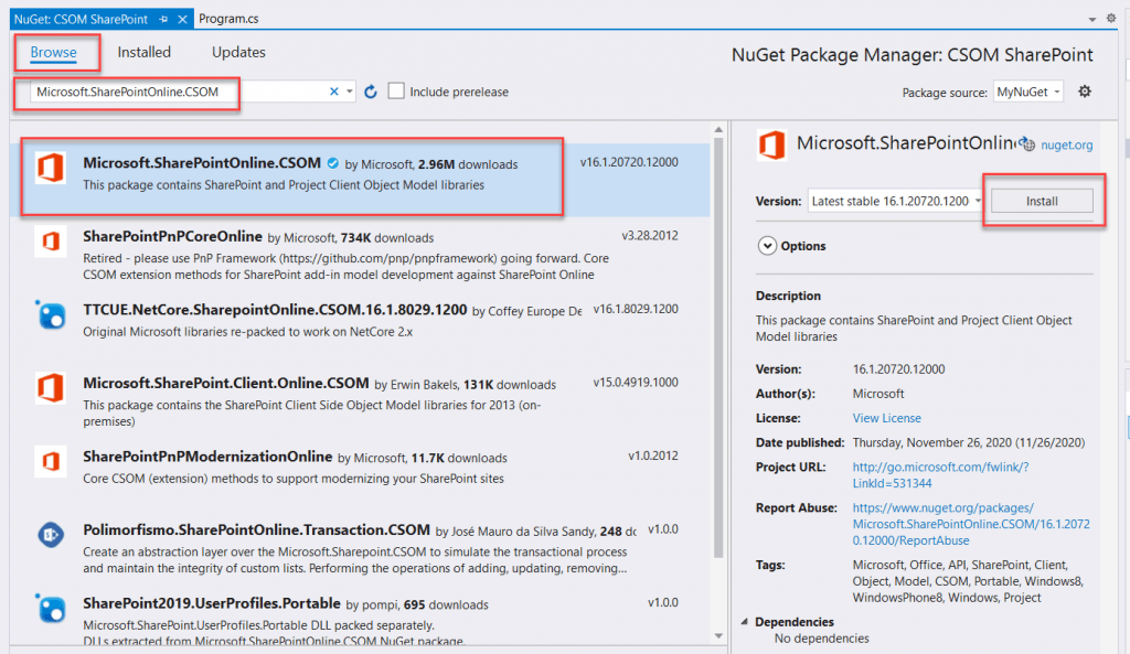 add csom sharepoint client dll from nuget