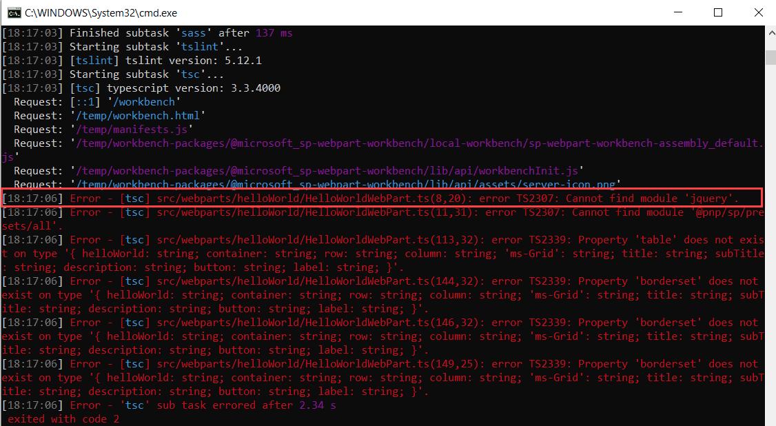 cannot find module jquery spfx