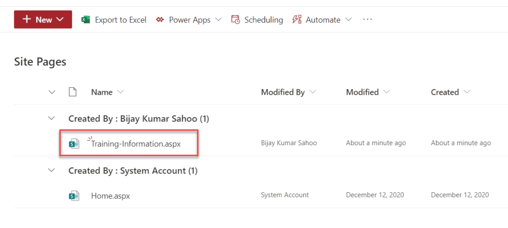 create a modern page in sharepoint 2019